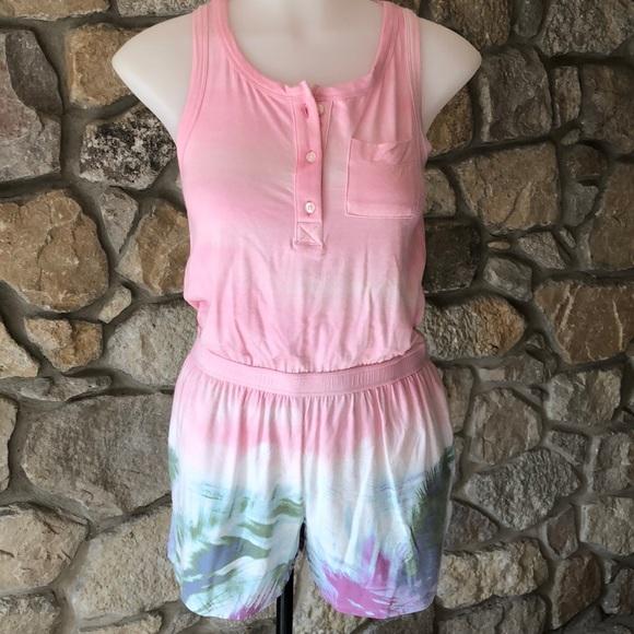 cf453384f71 Girls tie dye beach print romper